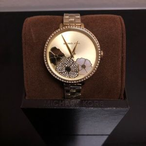 NWT Gold-Tone Michael Kors Floral Charley Watch